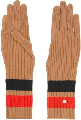 Burberry Monogram-Motif Stripe-Detail Gloves
