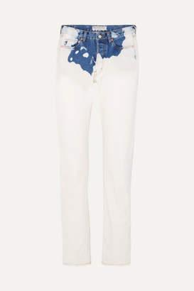 Balenciaga Two-tone Mid-rise Straight-leg Jeans - Blue