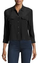 Equipment Cropped 3/4-Sleeve Signature Shirt, True Black