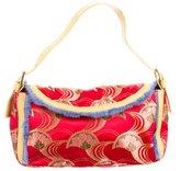Casadei Leather-Trimmed Jacquard Evening Bag