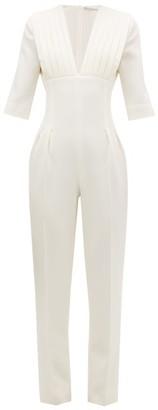 Emilia Wickstead Bella Pleated Wool-crepe Jumpsuit - Womens - Ivory
