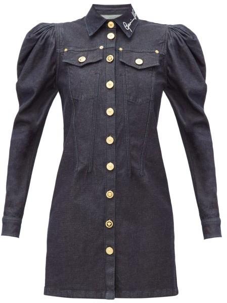 Versace Signature-embroidered Denim Mini Dress - Womens - Denim