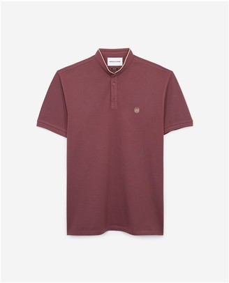 The Kooples SLIM burgundy polo with officer collar