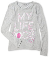 DKNY Girls 4-6x) My Life Rocks Glitter Tee