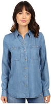 7 For All Mankind Two-Pocket Slim Boyfriend Button Front in Castle Lake Blue