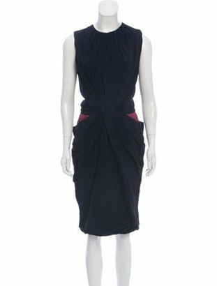 Vionnet Draped Sleeveless Dress Navy