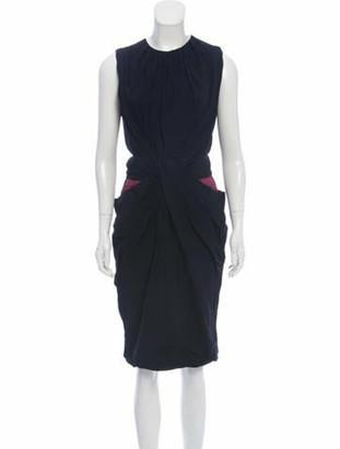 Vionnet Draped Sleeveless Dress Navy