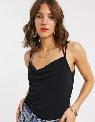 Vero Moda cowl neck cami top with t bar back detail in black