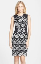 BCBGMAXAZRIA Women's 'Laurine' Floral Lace Overlay Sheath Dress