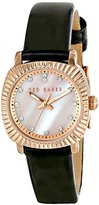 Ted Baker Women's TE2120 Mini Jewels Rose Gold-Tone Black Leather Watch