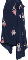 Thumbnail for your product : Preen Line Regina Asymmetric Floral-print Crepe De Chine Wrap Skirt