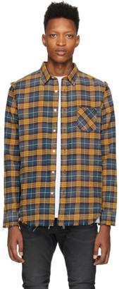 R 13 Blue and Yellow Shredded Seam Shirt