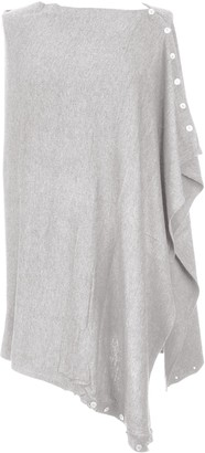 Texture Ladies Womens Lagenlook Plain Button Cashmere Feel Modal Knit Multiway Poncho Wrap Cardigan Shawl Cape One Size (Light Pink One Size)