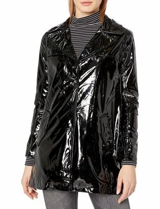Urban Republic Women's Patent Leather Vinyl Button Up Rain JKT