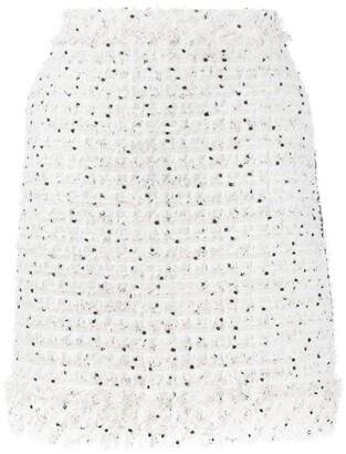 Karl Lagerfeld Paris Fringed Boucle Skirt