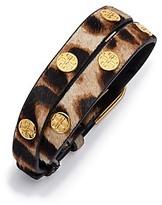 Tory Burch Double-Wrap Leopard Logo Stud Bracelet