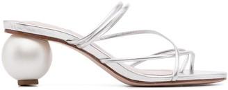 Schutz Metallic Strappy Mule Sandals