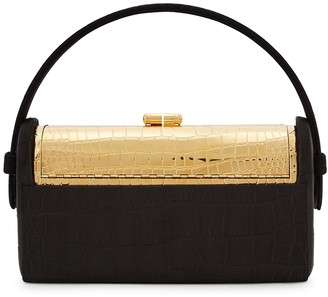 Bienen Davis Regine Minaudiere Black Silk-satin Top Handle Bag