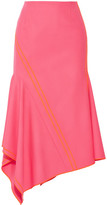 Jason Wu Asymmetric Silk-trimmed Stretch-wool Midi Skirt - Bright pink