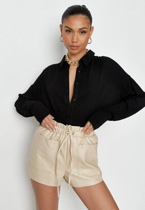Missguided Stone Faux Leather Elasticated Waist Shorts