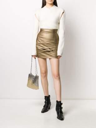 Philosophy di Lorenzo Serafini short metallic wrap detail skirt