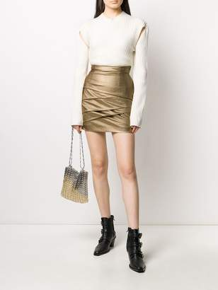 Philosophy di Lorenzo Serafini Short Metallic Wrap Detail Skirt