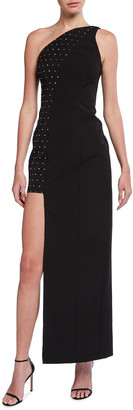 Aidan Mattox Asymmetrical One-Shoulder Embellished Crepe Gown