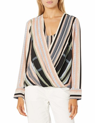 BCBGMAXAZRIA Women's Wrap Long Sleeve Top