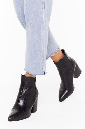 Nasty Gal Womens Croc Party Faux Leather Wide Fit Boots - Black