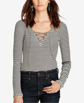 Denim & Supply Ralph Lauren Striped V-Neck Lace-Up Shirt
