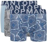 Topman Topman Blue Paisley Trunks 3 Pack