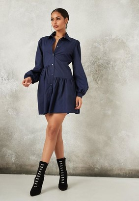Missguided Navy Asymmetric Tiered Shirt Smock Dress