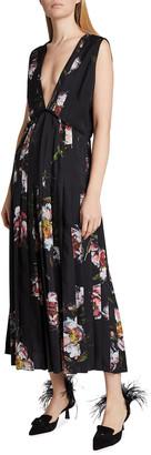Altuzarra Bonnie V-Neck Floral Pleated Dress