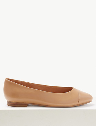 Marks and Spencer Wide Fit Leather Almond Toe Pumps