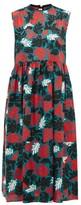 Marni Leaf-print Canvas Dress - Womens - Green Multi