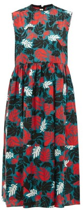 Marni Leaf-print Canvas Dress - Womens - Green Multi
