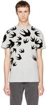 McQ by Alexander McQueen Grey & Black Swallows T-Shirt