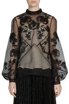 Erdem Bernice Embroidered Sheer Top