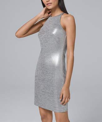 White House Black Market Women's Casual Dresses Silver - Silver Metallic Halter Sheath Dress - Women