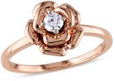 Zales 1/8 CT. Diamond Solitaire Flower Promise Ring in 10K Rose Gold