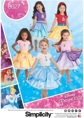 Simplicity Children's Disney Princess Skirts Sewing Pattern, 8627, 3-8