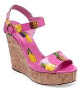 Dolce & Gabbana Pineapple Patent Leather & Cork Wedge Sandals