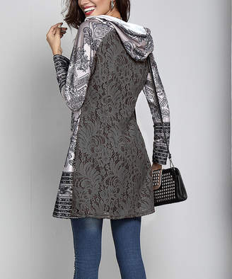 Reborn Collection Women's Tunics Gray - Gray & White Paisley Hooded Lace-Back Tunic - Women
