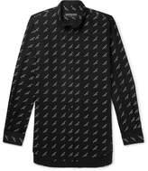 Balenciaga Oversized Button-Down Collar Printed Cotton-Twill Shirt