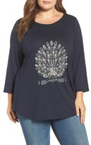 Lucky Brand Plus Size Women's Embroidered Peacock Tee