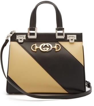 Gucci Zumi Small Striped Leather Handbag - Black White