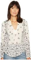 Lucky Brand Mix Geo Peasant Top Women's Clothing