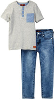 7 For All Mankind Knit Henley & Jean Set (Toddler Boys)