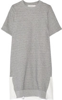 Clu Mesh-trimmed Cotton-blend Terry Mini Dress - Light gray