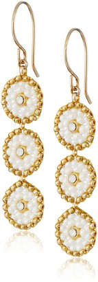 Miguel Ases Swarovski and Cream Triple-Station Small Drop Earrings
